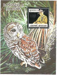 Guinea-Bissau Owls & Powell Silver Foil Sheet 5p06bs