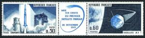 France 1137-1138a block/2 pairs,MNH. Michel 1530-1531.French satellite A-1,1965