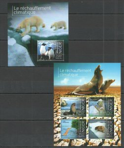 ST2839 2013 Niger Faune Sauvage Animaux Polar Climate Changer KB + Bl MNH