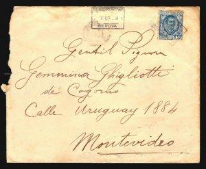 1929 SGTM France Paquebot cancel Italy stamp Cover / Uruguay PRINZREGENT Cordoba