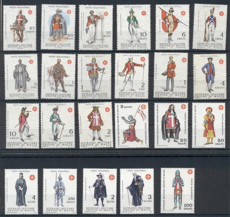 Knights Military National Costumes Sovereign Order of Malta 23 MNH stamps set