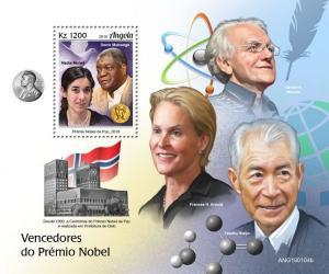 ANGOLA - 2019 - Nobel Prize Winners - Perf Souv Sheet - MNH