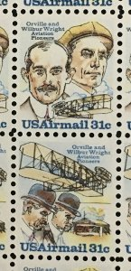 1978 airmail sheet, Wright Brothers Sc# C91-2
