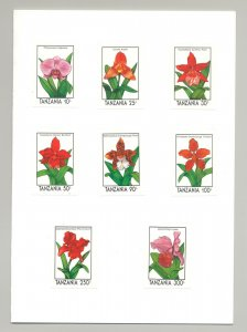 Tanzania #628-637 Orchids, Expo 90 missing designs! 8v & 2v S/S Imperf Proofs