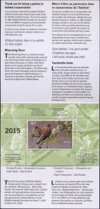 CANADA #31  2015  DUCK STAMP MOURNING DOVES By W. Allan Hancock