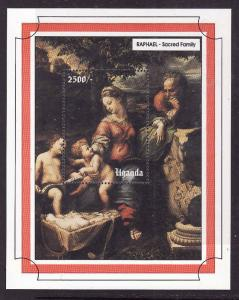 Uganda-Sc#1173-unused NH sheet-Christmas-Art-Paintings-Raphael-1993-