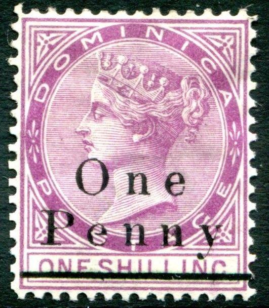 DOMINICA-1886 1d on 1/- Magenta Sg 19  MOUNTED MINT V23410