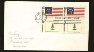 USA 1348 & 1353 Flag Pairs 1968 First Day Cover