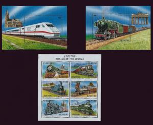Lesotho 1996 Trains of the World 2 6 Stamp Sheets and 2 S/S 12E-030