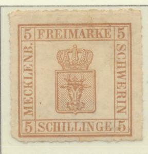 Mecklenburg-Schwerin Stamp Scott #8, Mint Hinged, Partial Gum, Hinge Remnant ...