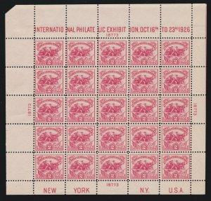 US 630 2c White Plains Souvenir Sheet of 25 Mint UL #18773 VF OG NH