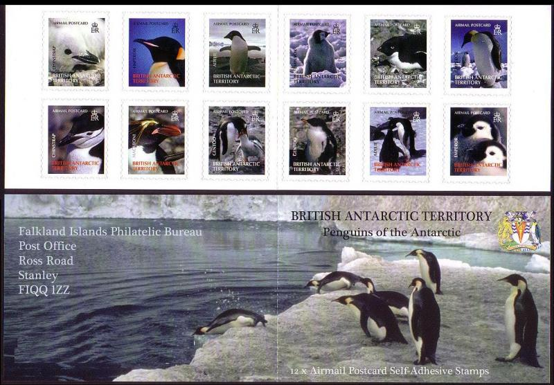 BAT Penguins 12 Airmail postcard stamps booklet SG#436/47