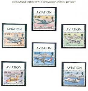 Jersey  Sc 790-5 1997 60th aniv Airport Airplanes stamp set mint NH