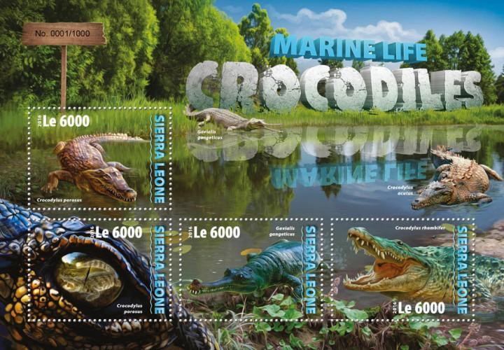 Sierra Leone MNH S/S Crocodiles Reptiles 2016 4 Stamps
