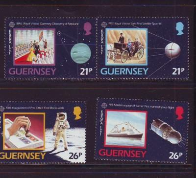 Guernsey Sc 449-52 1991 Europa Space stamp set mint NH