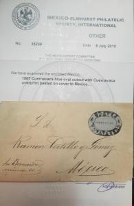 O) 1867 MEXICO - CUERNAVACA, BLUE OVAL CUTOOUT WITH CUERNAVACA, OVERPRINTED PAST