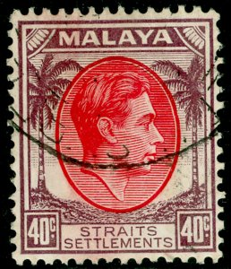 MALAYSIA - Straits Settlements SG288, 40c scarlet & dull purple, FINE USED.