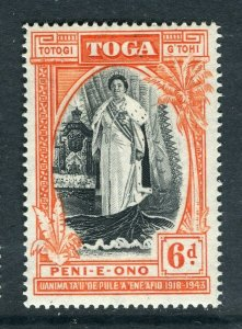TONGA; 1944 early Queen Salote Silver Jubilee issue Mint hinged 6d. value