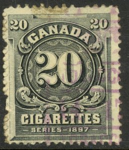 CANADA Series of 1897 20 Cigarettes Tax Paid Revenue Brandon C-270 USED