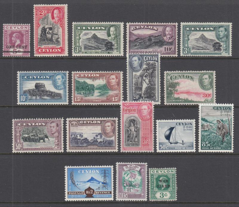 Ceylon Sc 223//MR2 MLH. 1918-1958 issues, 17 different, VF