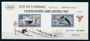 [95542] Aden Qu'aiti State Hadhramaut 1967 Olympic Games Grenoble Ski Sheet MNH