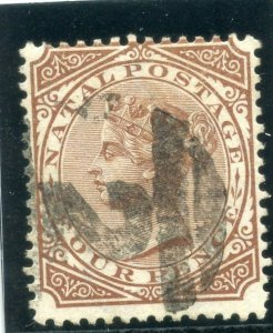 Natal 1878 QV 4d brown (p14) very fine used. SG 69. Sc 53.