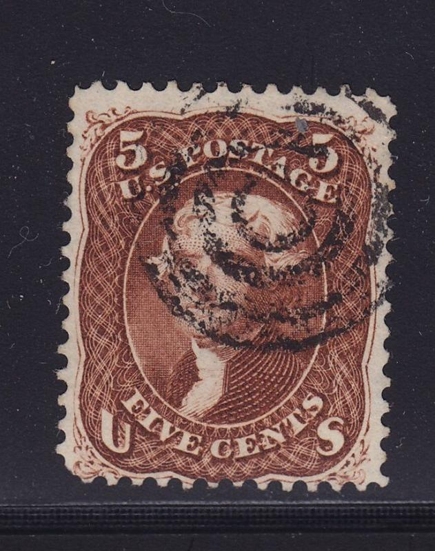 75 F-VF used fancy concentric rings cancel  nice color cv $ 475 ! see pic !
