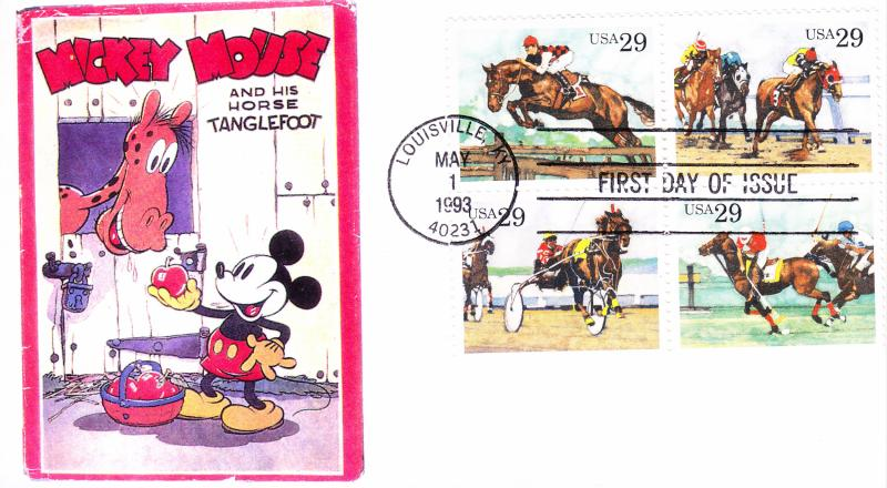 Bonnie Frison FDC 1994 HP Numbered 10/10 Cachet Mickey Mouse Sporting Horses