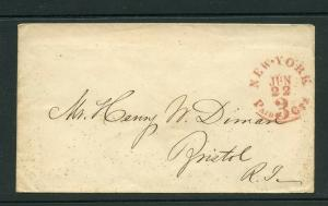 UNITED STATES JUNE 22 PAID 3 CTS RED CANCEL STAMPLESS COVER TO BRISTOL RHODE IS