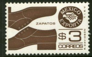 MEXICO Exporta 1118a, $3P Shoes Prf 11 1/2 Unwmkd Paper 7. MINT, NH. VF.