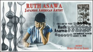 20-181, 2020, Ruth Asawa, First Day Cover, Pictorial Postmark, Japanese American