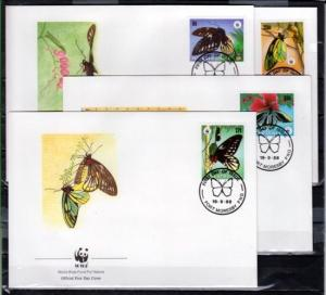 Papua New Guinea, Scott cat. 697-700. Butterflies, W.W.F. on 4 First day covers.