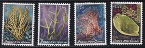 Papua New Guinea # 588-591, Corals, Used Set, 1/2 Cat.