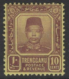 MALAYA TRENGGANU SG9 1910 10c PURPLE/YELLOW MTD MINT