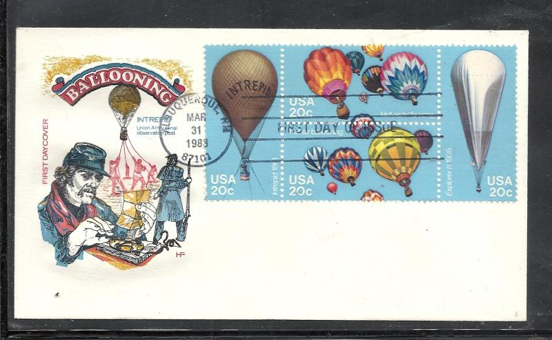 US #2035a Hot Air Balloons HOF cachet unaddressed fdc