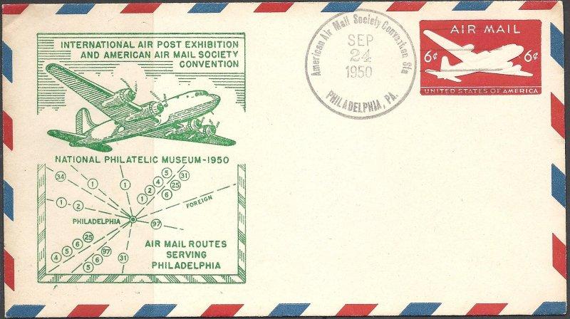 USA - 1950 - Stamped Envelope - Scott UC18 - International Airpost Exhibition