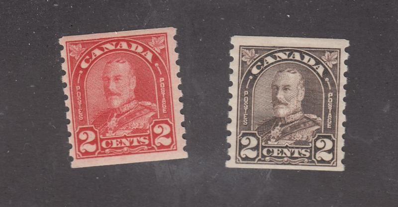 CANADA # 181 VF-MNH # 182 VF-MLH KGV 2cts COILS CAT VALUE $86