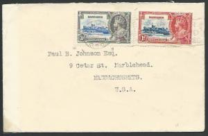 BARBADOS 1935 cover to USA, Jubilee 1d & 1½d...............................53111