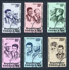 Togo 856-858,C206-C208,CTO.Mi 1003-1008A. John F.Kennedy,1973.Politicians,