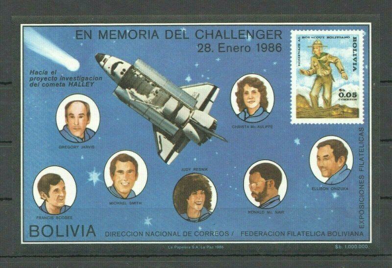 NW0085 IMPERFORATE BOLIVIA SPACE CHALLENGER ASTRONAUTS SCOUTING BL MNH