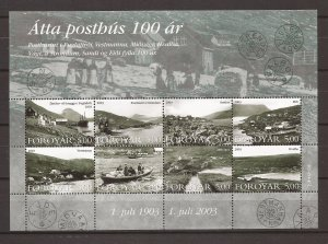 2003 Faroe Islands - Sc435 - MNH VF - Mini Sheet - 100 year old post offices