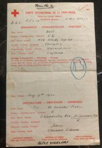 1941 England To Jersey Channel Island British Prisoner Letter Cover POW Redcross