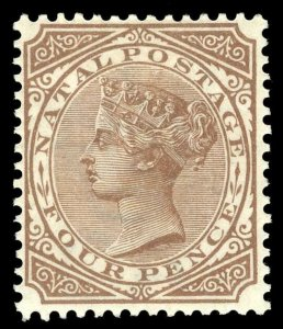 Natal 1889 QV 4d brown MLH. SG 102. Sc 70.