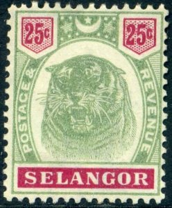 SELANGOR 1896 25c Green and Carmine SG58 MOUNTED MINT