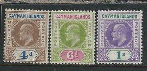 CAYMAN IS 1907 THREE VALUES (4d/6d/1s) ALL MM SG 13/15 CAT £145