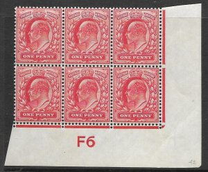 1d Scarlet Control F6 imperf perf type V2A plate 42 UNMOUNTED MINT