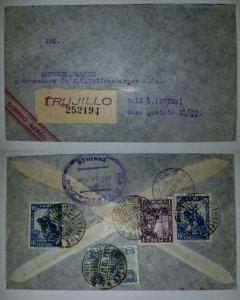 J) 1935 PERU, FRANCISCO PIZARRO, THE INCA, MULTIPLE STAMPS, AIRMAIL, CIRCULATED