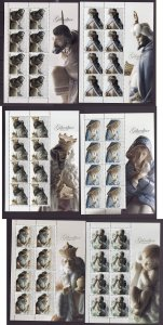 Gibraltar-Sc#1109-14-six unused NH sheets-Christmas-Nativity Figurines-2007-