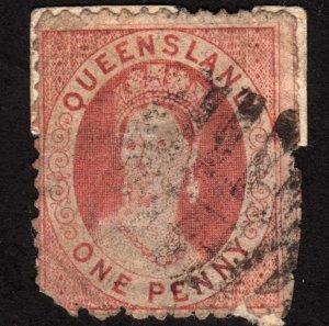 1868 Queensland 1p, Used, Sc 38