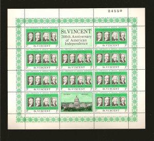 Saint Vincent 436 USA Bicentennial Sheet of 10 + 2 Labels MNH